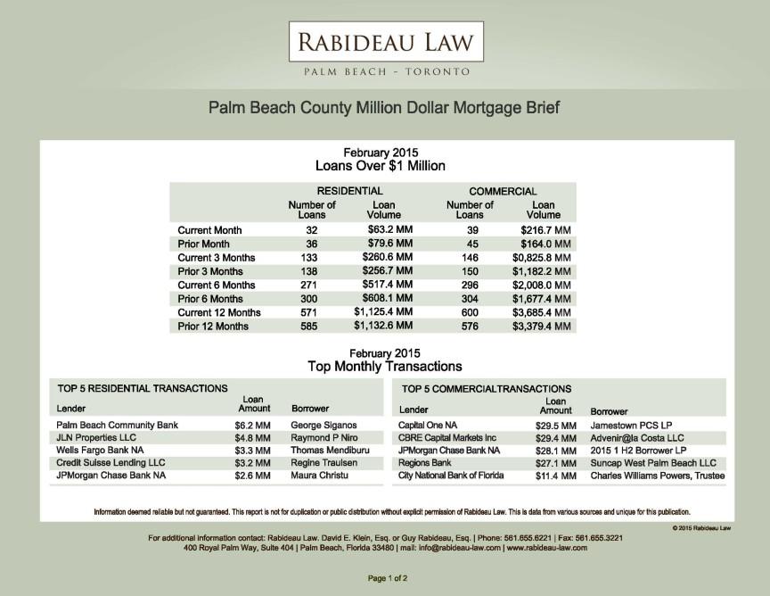 FEBRUARY 2015 – MILLION DOLLAR MORTGAGE BRIEF | Rabideau Law